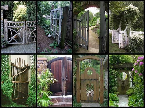 Как украсить деревянные ворота фото