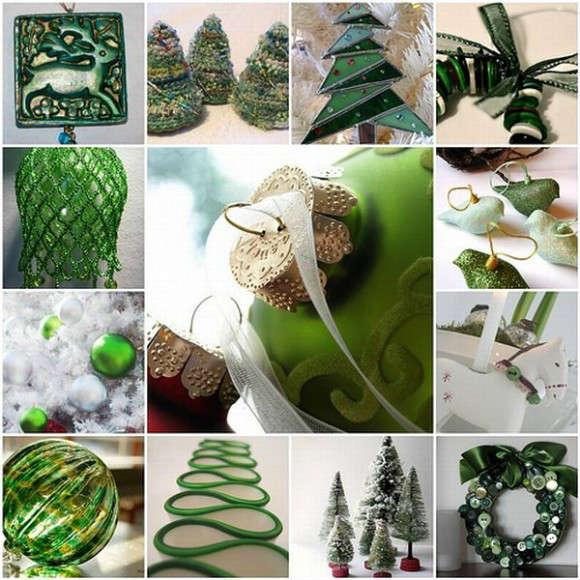 Green-COlored-Tree-Decorating-Ideas-for-Chrismas-580x580